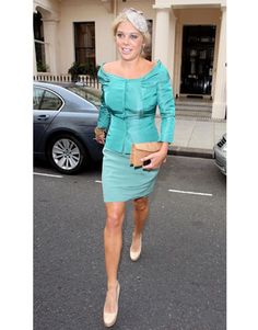 Chelsy Davy wears an Alberta Ferretti bias-cut satin dress created especially for her by the designer.