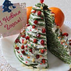 Необычный, невероятно вкусный и легкий праздничный десерт! Ny Food, Snacks, Food Humor, Sweet Cakes, Christmas Desserts, Food Design, Holiday Recipes, Dessert Recipes, Appetizer Recipes