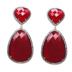 79f1902f4f02 Victorian Style 2.65Ctw Rose Cut Diamond Silver Ruby Earrings  Handmade   Danglers  Anniversary