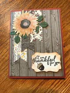 Julie Mahoney Edwards via FB Hand Made Greeting Cards, Greeting Cards Handmade, Fall Cards, Holiday Cards, Christmas Cards, Sunflower Cards, Stampinup, Thanksgiving Cards, Pretty Cards