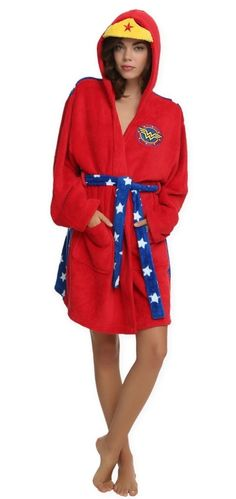 fcc7e4b08f Red fleece robe from DC Comics with an allover Wonder Woman design  including a belted waist