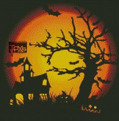 Free Cross Stitch Pattern - Halloween haunted house and tree