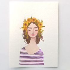 Purple Flower crown girl original watercolor painting. Stripes flowers, floral. Fashion illustration lady, beauty, floral, portrait, yellow by KristineBrookshire on Etsy https://www.etsy.com/listing/294116855/purple-flower-crown-girl-original