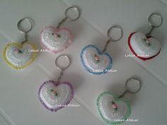 Chaveiro Coração em crochê  #casamento #lembrancinha #lembrancinhacasamento #chaveiro #chaveirolembrancinha