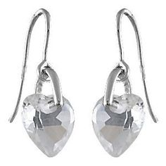 So Chic Jewels - 925 Sterling Silver Cubic Zirconia Hand Gem Set Love Heart Jewellery Drop Earrings. 925/000 Sterling Silver (Hallmark), Rhodium. Cubic Zirconia. Dimensions: 21 x 9 mm. French Made Jewelry. Nickel free.