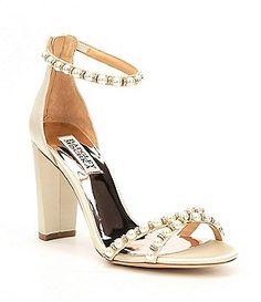 Badgley Mischka Hooper Satin Pearl Detail Block Heel Dress Sandals