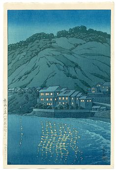 """""""Evening in Atami, View From the Abe Inn"""" by Hasui, Kawase"""
