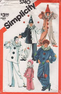 Free Us Ship Vintage Retro 1980s 80s Sewing Pattern Simplicity 5740 ADULT Costume Hat Clown Mime Halloween Chest Bust 40 42 Uncut FF by LanetzLiving on Etsy