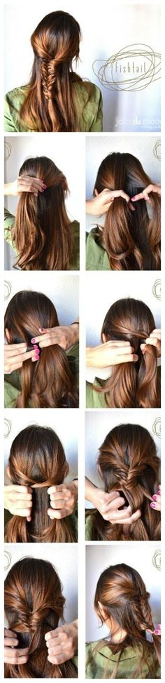 tutorial Fishtail Braided Hairstyles Tutorials: Trendy Hairstyles Make a Fishtail For Your Hair Fishtail Braid Hairstyles, Braided Hairstyles Tutorials, Trendy Hairstyles, Fashion Hairstyles, Party Hairstyles, Wedding Hairstyles, Coiffure Hair, Diy Braids, Hair Day
