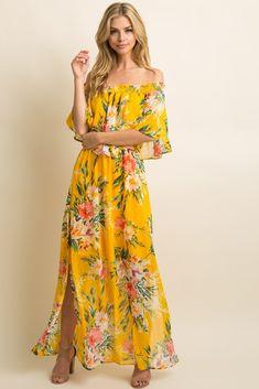 8d5ef42e3a2f5 Yellow Floral Chiffon Off Shoulder Ruffle Maternity Maxi Dress
