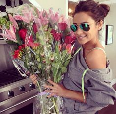 Shay with birthday flowers.