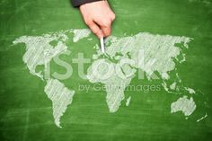 Hand Pointing at Europe on Blackboard royalty-free stock photo