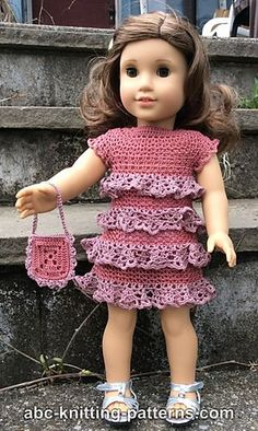Crochet Patterns Galore - American Girl Doll Evening Dress with Ruffles