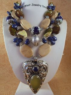 Cowgirl Necklace Set  Chunky Jasper & Green Maple Turquoise with a Handcrafted Repousse Heart Pendant with Chalcedony and Lapis by Outwestjewelry