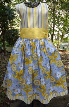 Little girls yellow and gray party dress by EmelineDesign on Etsy