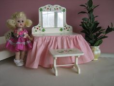 Vintage 1950s Wooden Vanity and Bench w/ Hand Painted by TheToyBox