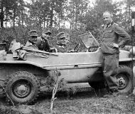Officers posing with their VW Type 166 Schwimmwagen