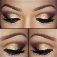 Amazing gold eyes makeup