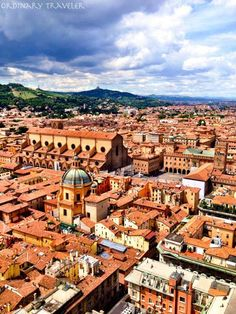 View from Asinelli Tower in Bologna, Italy
