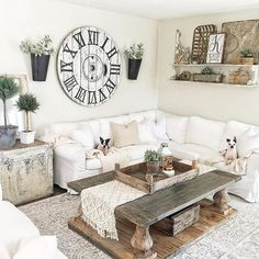 Comfy farmhouse style, though I would never have white couches.