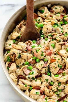 Chicken Bacon Pasta with Peas @wellplated