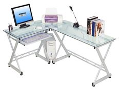 l shape glass desk - L Shape Glass Desk - Best Home Office Desk, l shaped puter desk contemporary laptop workstation