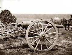 This is a photo of the main guns, 10 pounder Parrott rifles, of the 1st New York Artillery, Pettit's Battery, near Richmond, Virginia. The photo was taken in 1862 by James Gibson.