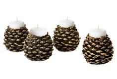 S/4 Pinecone Tea Light Holders, Gold