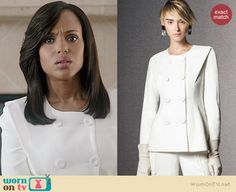 Olivia's white double breasted jacket on Scandal.  Outfit Details: http://wornontv.net/37636/ #Scandal