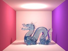 Ray-traced image of the Stanford dragon by Laura Lediaev.