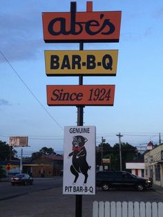 Clarksdale, MS - Abe's Bar-B-Q has been serving up the spiciest BBQ cuisine since 1924 and has welcomed famous names like Paul Simon and ZZ Top. On the menu are a number of classic Mississippi BBQ dishes like hot tamales with cheese or chili, BBQ ribs, pork or beef plates plus sandwiches, chili dogs, and grilled cheese sandwiches, which can all washed down with bottled root beer.