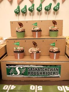 Football Party Ideas: Cupcakes displayed on upside down crates