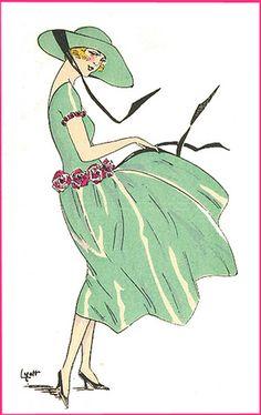 1920's women's daywear fashion illustration