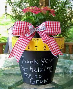 Cute DIY chalkboard planter as an end of the year gift for your child's teacher. #plaidcrafts