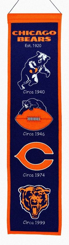 Chicago Bears Banner 8x32 Wool Heritage