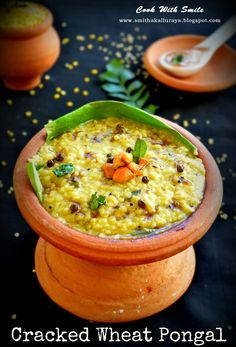 """Pongal is no knew for any South Indian. Its one of the most famous breakfast item especially in Tamilnadu. Normally pongal is made from rice but in my home no one likes rice for breakfast. So as an alternative i usually make pongal from other healthy substitutes. I have already shared Pongal made from thick beaten rice and today it is """" Cracked Wheat Pongal / Dalia Pongal """"- definitely a healthy and tasty alternate to the traditional ven pongal made from rice. In south india , for makara…"""