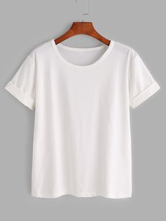 Shop Plus Solid Rolled Sleeve Tee online. SHEIN offers Plus Solid Rolled Sleeve Tee & more to fit your fashionable needs. White Tee Shirts, White Tees, Basic T Shirts, Plain T Shirts, Plain Colored T Shirts, Black T Shirt, Plain White Shirt, Plain Tops, Knotted Shirt