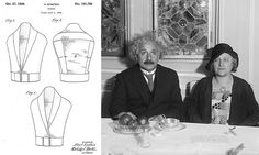 Credit: USPTO & Corbis <strong>Albert Einstein</strong><br/>Adjustable blouse<br/>Forget relativity and Nobel prizes, Einstein invented a blouse. Oh yes – in addition to being a genius, Albert Einstein was a bit of a fashionista, coming up with a 'new, original and ornamental' shirt. A sleeveless, sort-of-waistcoat affair, it has two sets of buttons so you can adjust its size around the girth – handy if you've just eaten a big meal.