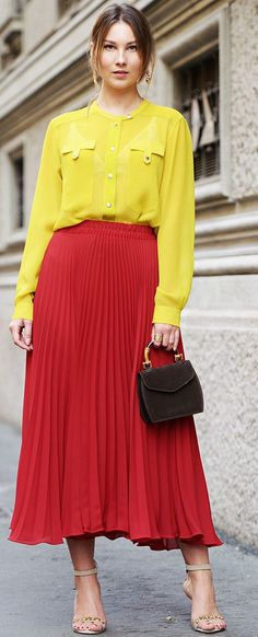 Carolines Mode Angelica Yellow And Red Color Blocking Fall Street Style Inspo #Fashionistas