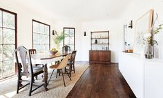 mixed wood dining room