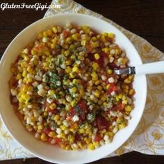 White & Yellow Corn-Tomato Salsa ~ 2 summer favorites coming to a crisp GF tortilla chip near you! :)