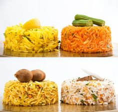 Assortment of South Indian Rice Dishes - clockwise from top left: Lemon Rice, Sambhar Rice, Coconut Rice and Tamarind Rice