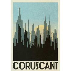 Coruscant Re Coruscant Retro Travel Poster Star wars Love Posters, Travel Posters, Vintage Posters, Retro Posters, Buy Posters, Star Wars Room, Star Wars Art, Star Wars Poster, Star Wars Zimmer