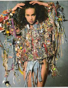 Jacket made of found objects, silk + cotton | Mario Rivoli 1973