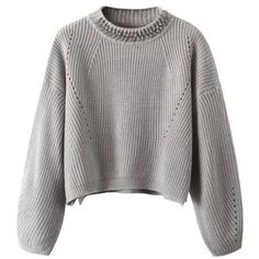 Gray Jewel Neck Long Sleeve High Low Loose Sweater ($24) ❤ liked on Polyvore featuring tops, sweaters, grey, grey jumper, loose sweater, grey top, thick knit sweater and grey sweater