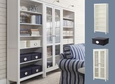 White stained wood HEMNES bookcase with glass doors and KVARNVIK boxes in dark blue
