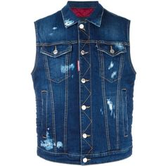Dsquared2 Ski distressed sleeveless jean jacket ($755) ❤ liked on Polyvore featuring men's fashion, men's clothing, men's outerwear, men's jackets, vest, blue, mens quilted jacket, mens punk jacket, mens ski jackets and mens sleeveless jacket