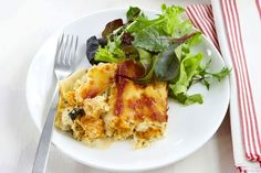 This savoury vegetarian bake uses butternut pumpkin, ricotta cheese, baby spinach leaves and lasagne sheets.