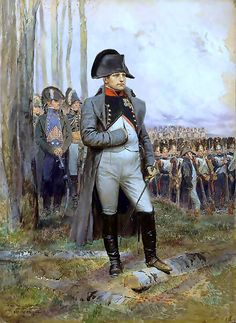 Napoleon is often represented in his green colonel uniform of the Chasseur à Cheval of the Imperial Guard, the regiment that often served as his personal escort, with a large bicorne and a hand-in-waistcoat gesture —a reference to the painting produced in 1812 by Jacques-Louis David. During the Napoleonic Wars he was taken seriously by the British press as a dangerous tyrant, poised to invade. He was often referred to by the British as Boney.