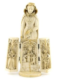 A French carved ivory tryptich figure of Mary, Queen of Scotts, Dieppe, second half century (damage to veil) Ivory Elephant, Ancient Egyptian Tombs, Renaissance Jewelry, Historical Images, Triptych, Chinese Art, Les Oeuvres, Art History, Sculpture Art